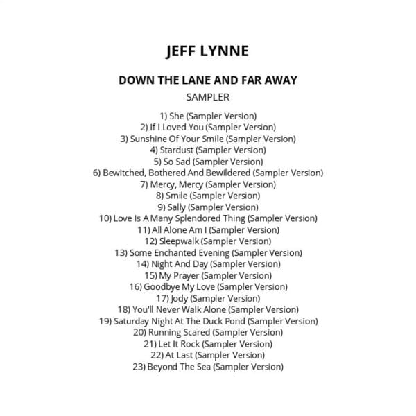 Jeff Lynne ‎- Down The Lane And Far Away (Promo / Sampler) 2012) CD 1